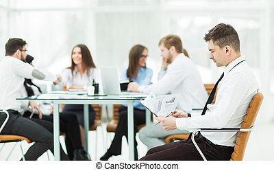 financier,  Business, réunion, directeur, fond, Partenaires