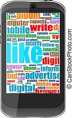 financier, business, tablette, écran, pc, mots