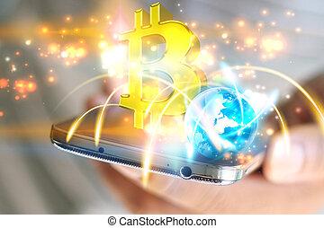 financier, concept., bitcoin, symbole., technologie internet