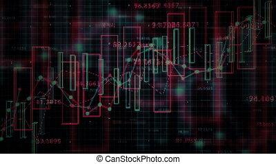 financier, concept., données, 4k