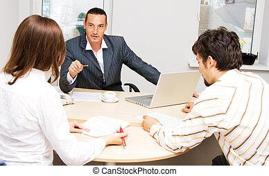 financier, conseiller, et, sien, clients