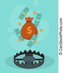 financier, crise, affiche, conception