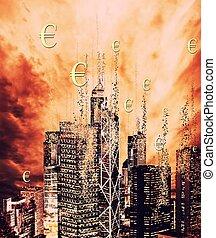 financier, crise, concept