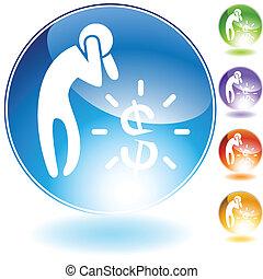 financier, crise, icône