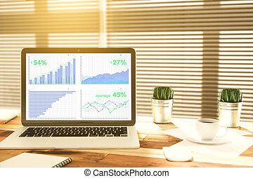 financier, diagrammes, sur, ordinateur portable, écran, dans, les, moderne, lieu travail, à, levers de soleil