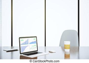 financier, diagrammes, sur, ordinateur portable, écran, dans, les, moderne, lieu travail