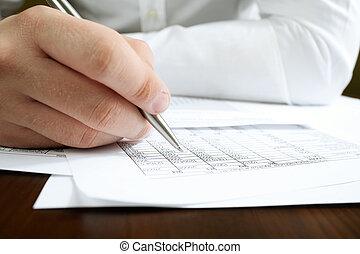 financier, données, analyzing.