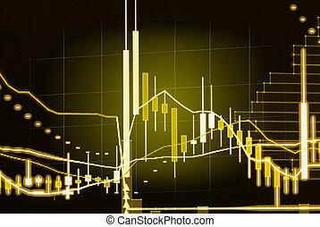 financier, données, sur, a, moniteur, crosse, graphique, de, bourse, données bourse, sur, affichage diodes électroluminescentes, concept