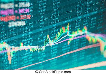 financier, données, sur, a, moniteur, données marché, sur, affichage diodes électroluminescentes, concept