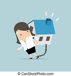 financier, elle, enchaîné, maison, concept., femme affaires, porter, dette, ankle.
