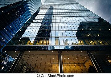 financier, gratte-ciel, district, ontario., moderne, en ville, toronto
