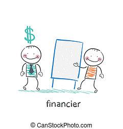 financier hears a presentation from a man