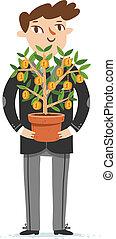 Financier holds money tree, vector illustration