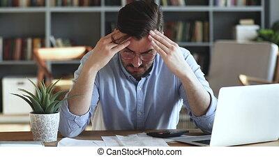 financier, homme, paperasserie, inquiété, sur, déprimé, ...