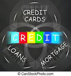 financier, hypothèque, crédit, banque, affichages, mots, prêts