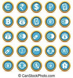 financier, icône, ensemble