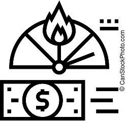 financier, icône, vecteur, ligne, inflation, illustration, crise