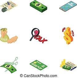 Financier icons set, isometric style - Financier icons set....