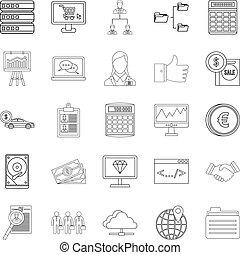 Financier icons set, outline style - Financier icons set....