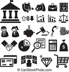 financier, illustra, ensemble, stockage, icônes