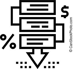 financier, illustration, icône, ligne, vecteur, crise, étapes