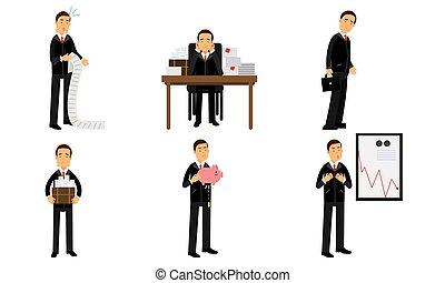 financier, illustration, worker., déclinant, blanc, vecteur, présentation, échecs, diagramme, isolé, fond, bureau, ensemble, compagnie