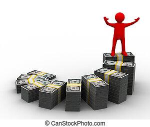 financier, image, isolé, diagramme, growth., 3d