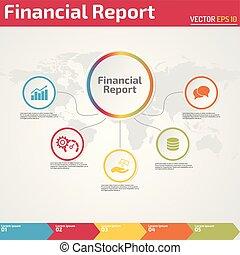 financier, infographic, cinq, gabarit, rapport, bannière, points