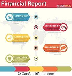 financier, infographic, cinq, rapport, bannière, points