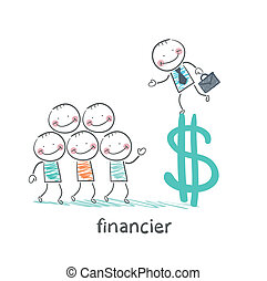 financier is on the dollar sign and talking with people