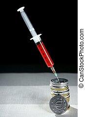 financier, métaphore, euro devise, injection, seringue