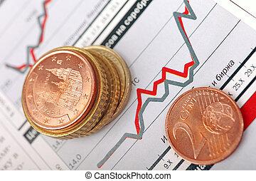 financier, macro, pièces, pose, graph., euro