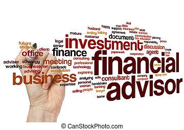 financier, mot, nuage, conseiller