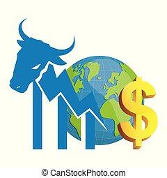 financier, mur, argent, rue, taureau, mondiale