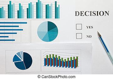 financier, non, décision, diagramme, graphique, choix, papier, fond, oui