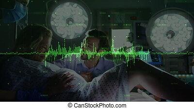financier, numérique, donner, femme, main-d'œuvre, données, contre, chambre hôpital, naissance, animation, traitement