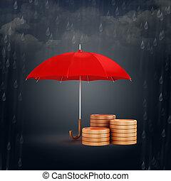 financier, or, économies, 3d, parapluie, pièces, concept