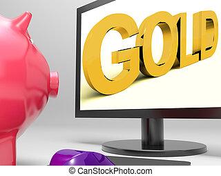 financier, or, écran, valable, investissement, spectacles