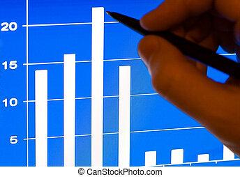 financier, ordinateur portable, stats, lcd