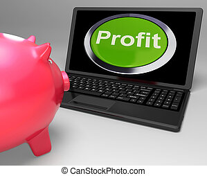 financier, profit, bouton, croissance, ordinateur portable, spectacles