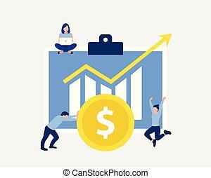 financier, profit, concept., croissance, conception, ou
