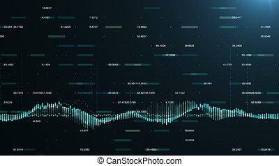 financier, résumé, diagrammes, numbers., animation, figures, diagrammes, fond, écoulement, croissant, augmenter, projection, profite, compteurs