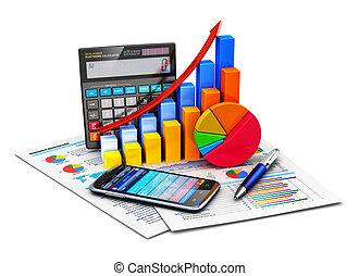 financier, statistiques, et, comptabilité, concept