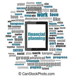 financier, tablette, business, collage, concept., pc, planification, mots, mot