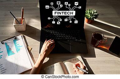 financier, technologie, argent, concept., internet, -, numérique, fintech, paiement