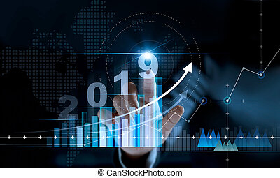 financier, texte, nombre, stratégie, planification, année, données, investissement, statistiques, réseau, graphique, concept., arrière-plan., 2019, numérique, nouvelles affaires, commercialisation, diagramme, toucher, paiement, banque, croissance, homme affaires