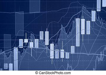 financier, -, uptrend, fond, marché, stockage