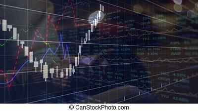 financier, utilisation, texting., homme, données, smartphone, sur, traitement