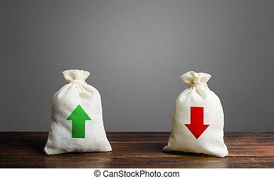 financier, vert, gestion, risque, planning., arrows., budgeting., expenses., profit, concept, positif, revenu, business, négatif, sacs, liquidité, deux, équilibre, commercer, rouges, loss.