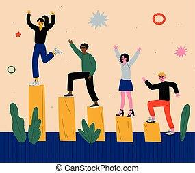 financier, victoire, levée, gens, hommes, illustration, célébrer, haut, diagramme, escalade, vecteur, groupe, réussi, femmes